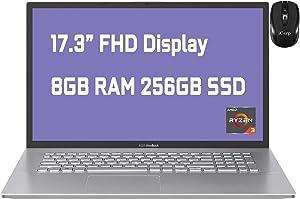"2021 Flagship Asus VivoBook 17 Business Laptop 17.3"" FHD Display AMD Ryzen 3 3250U Processor 8GB RAM 256GB SSD USB-C HDMI SonicMaster Win10 + iCarp Wireless Mouse"