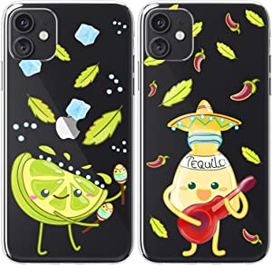 Mertak TPU Couple Cases Compatible with iPhone 12 Pro Max Mini 11 SE Xs Xr 8 Plus 7 6s Tequila Relationship Lightweight BFFs Girly Soulmate Cute Matching Alcohol Silicone Lime Mexican Salt Protective