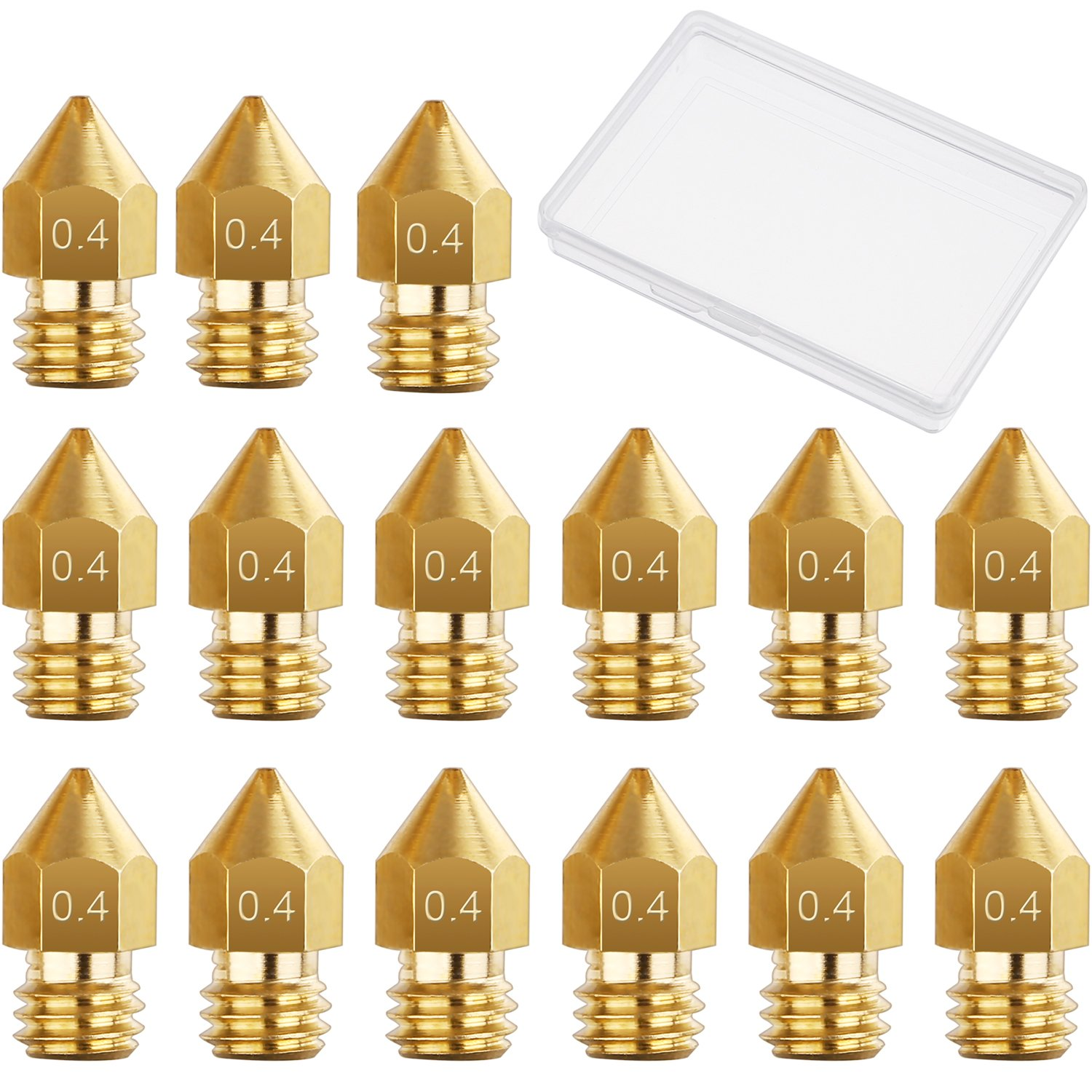 15 Pieces 0.4 mm MK8 3D Printer Brass Extruder Nozzle Print Heads for Makerbot Creality CR-10 with Free Storage Box Hestya