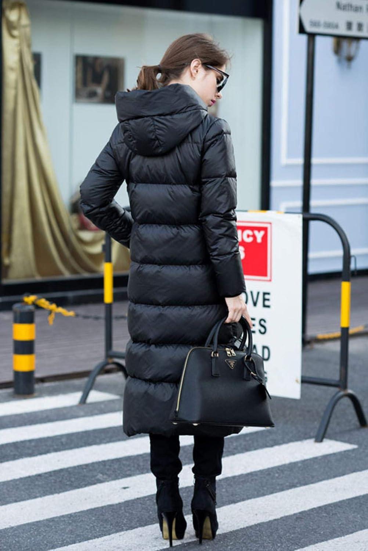 fidpMo Winter Women Duck Down Jacket Hooded Coats Long Warm Outwear