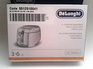 F28 Kit de filtros substituibles para freidoras DeLonghi, carbón: Amazon.es: Hogar