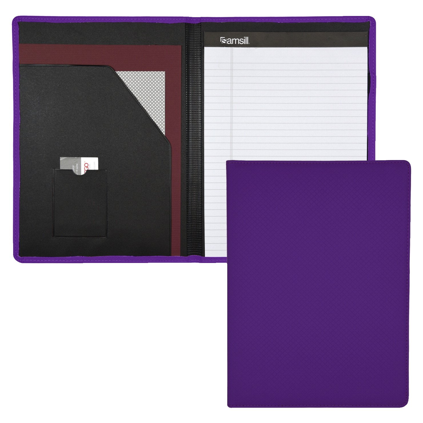 Samsill Fashion Padfolio / Portfolio for Women, Diamond Deboss Design, 8.5 x 11 Writing Pad, Purple
