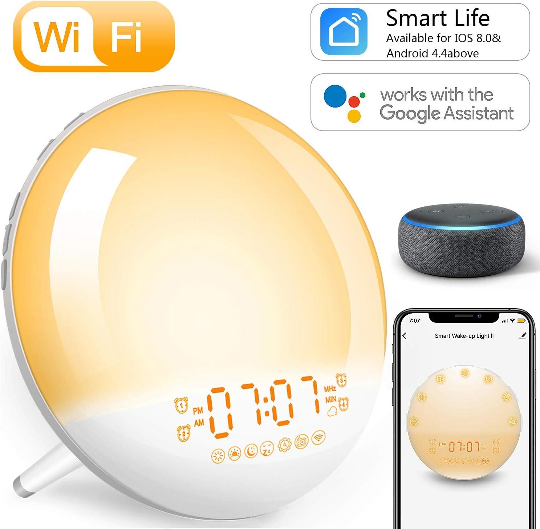 Wake Up Light Despertador Luz Inteligente - 2020 Upgrade Smart Despertadores Wifi Control de Alexa Echo y Google Home,Simulación de Amanecer y Anochecer, 7 Luces de Colores/4 Alarmas/Radio FM