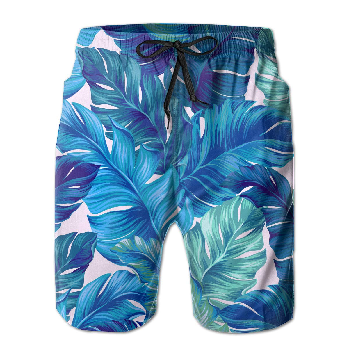 0afb73e998 Amazon.com: NICOKEE Cool Swim Trunks for Men Blue Tropical Leaves Banana  Hawaii Nature Palm Blue Summer Quick Dry Beach/Board Shorts: Clothing