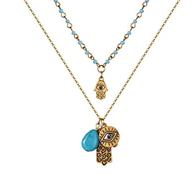 f158219f780ed OnairMall Filigree Charm Hamsa Hand of Fatima Blue Lucky/Evil Eye  Protection Amulet Pendant Necklace