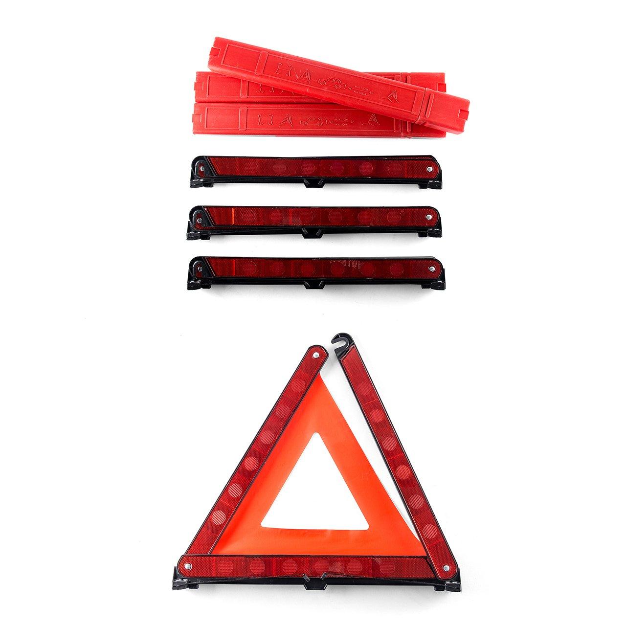 DEDC Lot de 3 Kits durgence Triangles de Signalisation Panneau dAvertissement pour Auto S/écurit/é Pliable R/éfl/échissant Universel Plastique