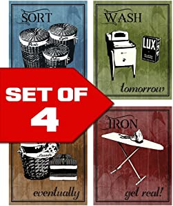 Wallables Laundry Room Wall Art! Set of Four 8 x 10 Decor Prints Great for Laundry Room, Laundromat, Wash Room. Sort, Wash, Fold & Iron. Designed Exclusively