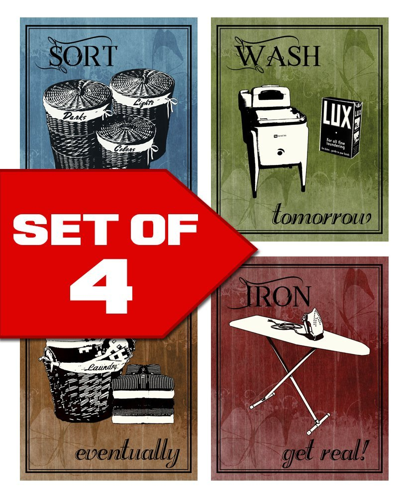 Laundry, 6 x 17 inch Laundry Room Decor Canvas Wall Art Prints for rooms With Solid Wood Inner Frame