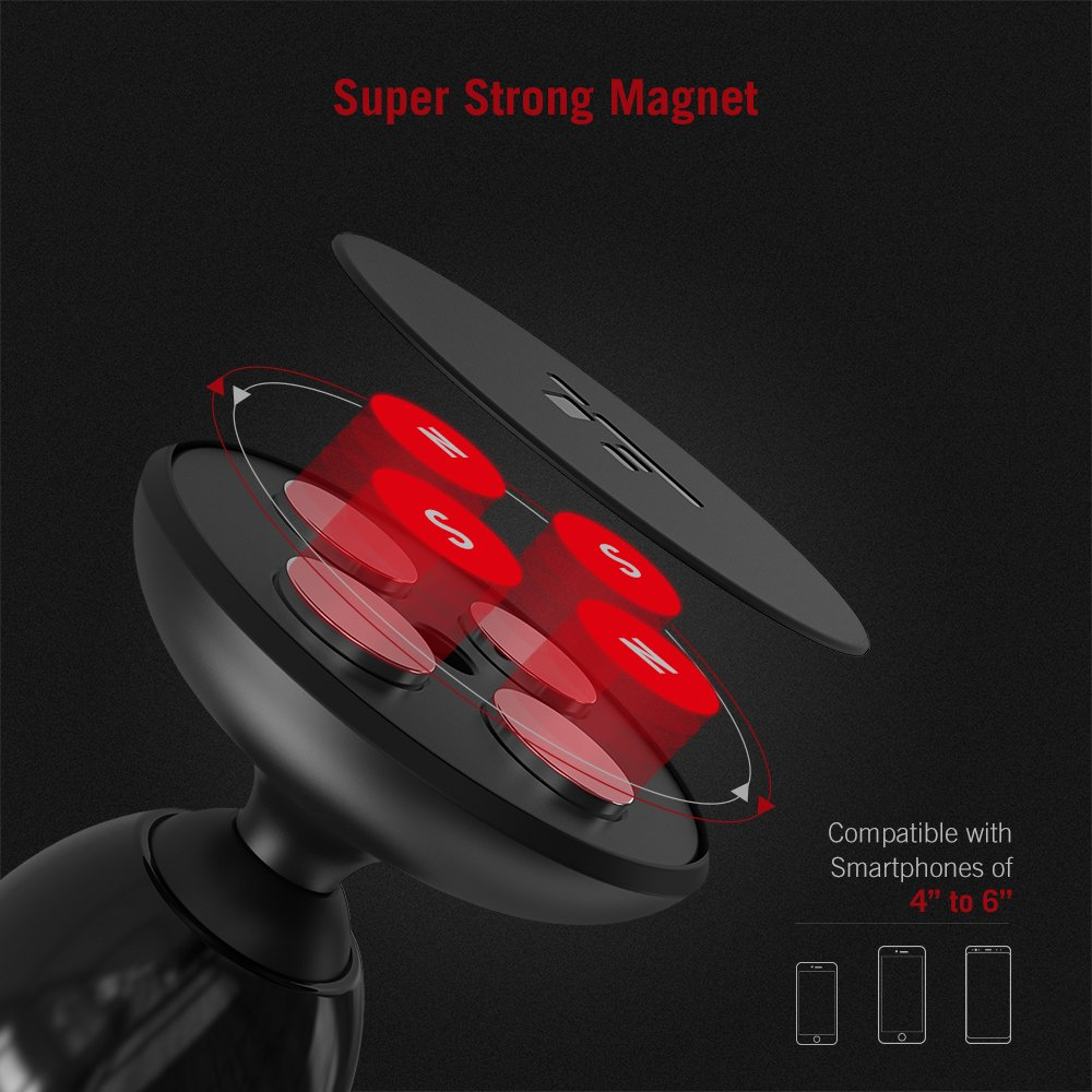 Compatible with iPhone Xs Max XR X 8 7 Plus Galaxy S9 S8 Plus Note 9 and Most Smartphones TT-SH008 Magnetic Car Phone Mount with Super Strong Magnet Magnetic Phone Car Mount TaoTronics Phone Holder for Car