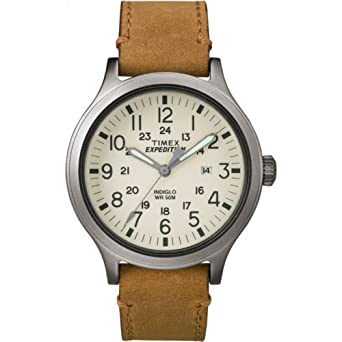 f42339340 Timex Men's TW4B06500 Expedition Scout 43 Tan/Natural Leather Strap Watch