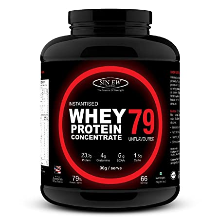 Sinew Nutrition Instantised Whey Protein Concentrate 79%, 2 Kg (Unflavoured) Whey Proteins at amazon
