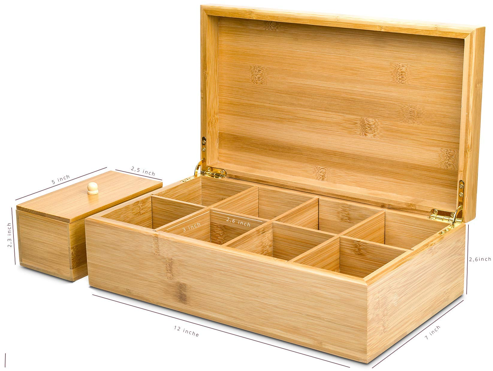 Lyevon Tea Storage Organizer Bamboo Chest Box with 8 Adjustable Compartments for Assorted Tea Bags or Spices -holds 125 Tea Bags by Lyevon (Image #5)