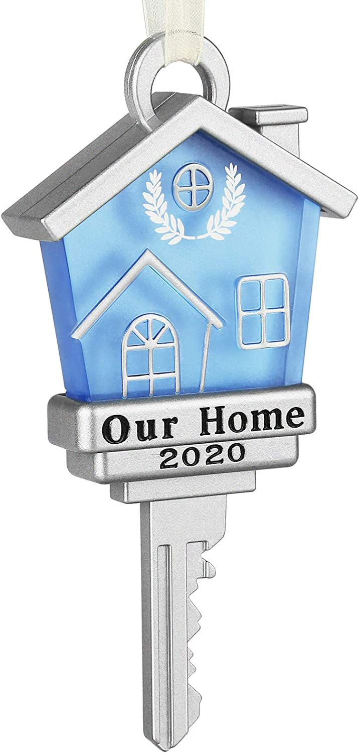 Koreno 2020 Our Home Keepsake Christmas Ornament Year Dated New Home Gifts Metal New Homeowners New House Moving in Together First Home Key