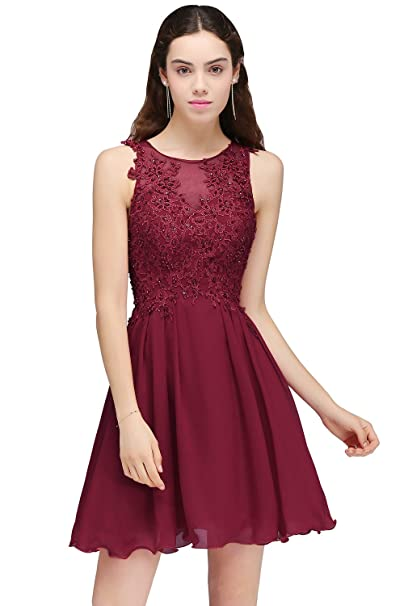55a4b184fa Babyonlinedress Sheer Straps Short Prom Dresses Womens Lace Applique Beaded  Wedding Cocktail Party Gowns ZLCPS707  Amazon.co.uk  Clothing