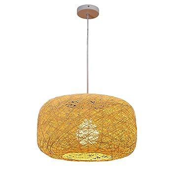 Maniny 40Cm Natural ratán Colgante lámpara de luz de Techo ...