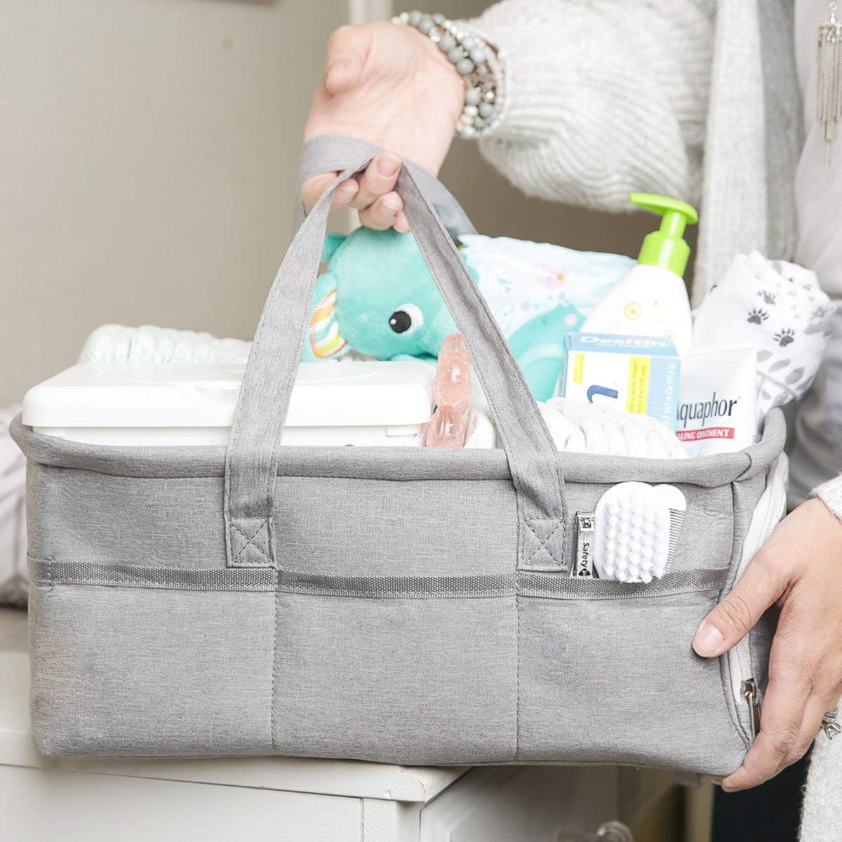 Boy or Girl Large 15x12x7 Portable Diaper Holder Basket for Nursery or Car Grey Canvas Tote Zipper Pocket 3 Insert Compartments Baby Diaper Caddy Organizer by Kids N Such Baby Shower Gift