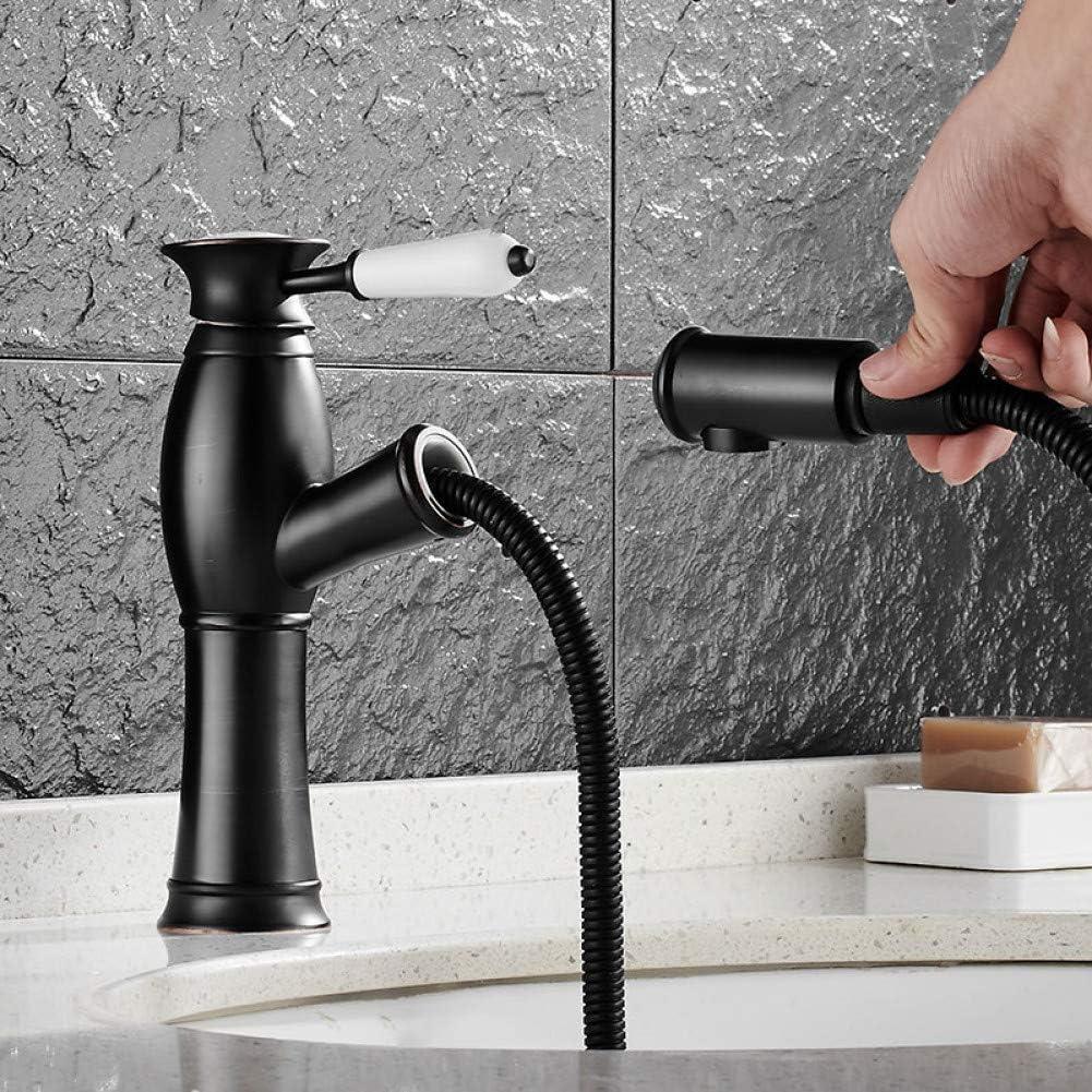 Latón Bronce caliente y fríoBaño Extraíble Grifo del lavabo Grifo del lavabo Grifo con extractor Estilo de cabezal de ducha