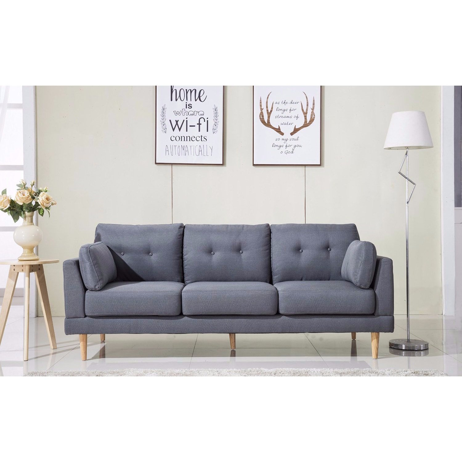 Amazon com madison home mid century modern ultra plush linen fabric sofa grey kitchen dining
