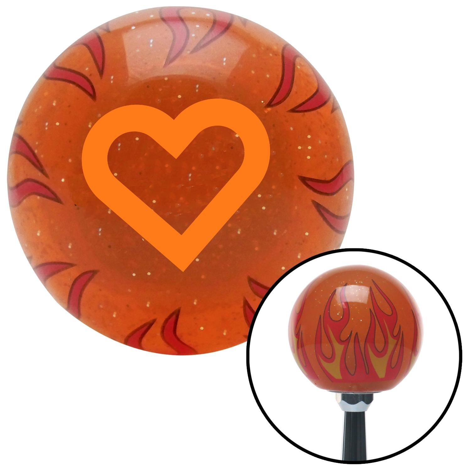 Orange Fat Outlined Heart American Shifter 253584 Orange Flame Metal Flake Shift Knob with M16 x 1.5 Insert