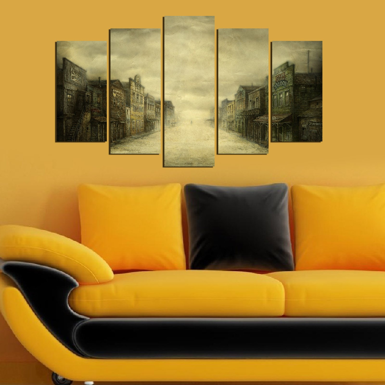 LaModaHome Decorative 100% MDF Wall Art 5 Panels (43'' x 24'' Total) Ready to Hang Painting Old Town America Cowboy Wild West Deserted