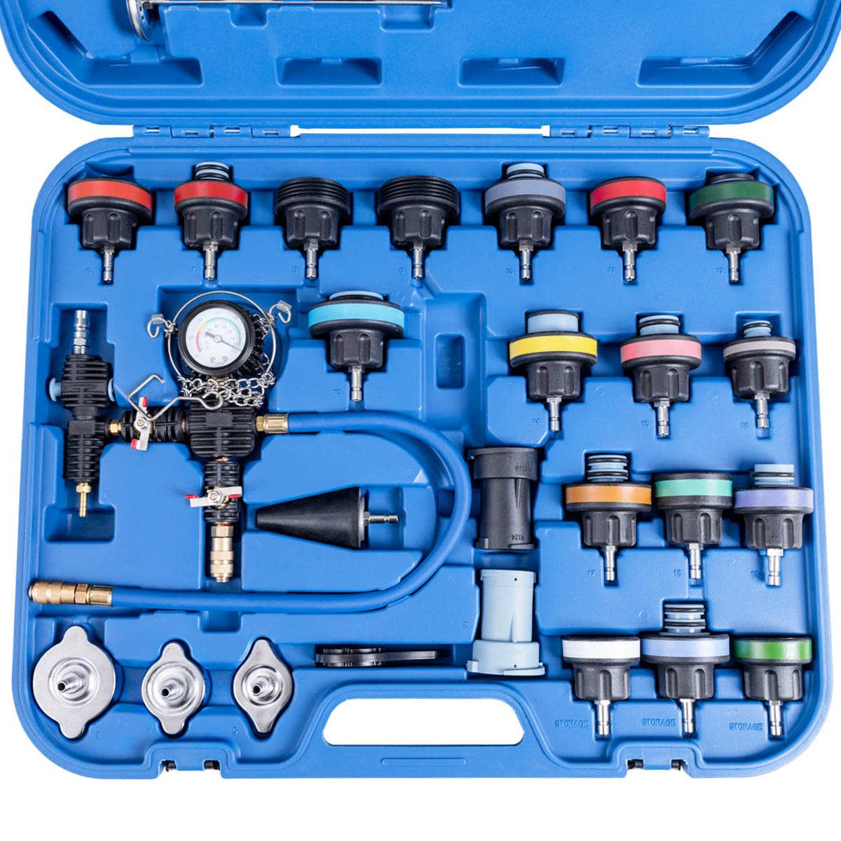 Goplus 28PCS Universal Radiator Pressure Tester Leak Checker Vacuum Type Cooling System Automotive Radiator Pressure Test Kit Purge and Refill Kit Set w/Carrying Case by Goplus (Image #4)