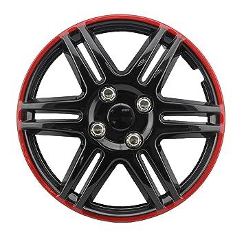 Tapacubos Tapacubos - Tapacubos 13 pulgadas de ABS Negro - Rojo: Amazon.es: Coche y moto
