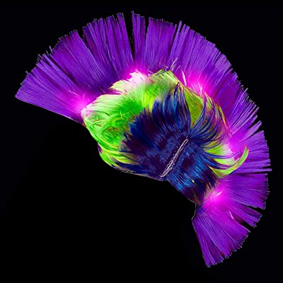 Fun Central LED Light Up Mardi Gras Mohawk Wig Headband for Women & Men: Toys & Games