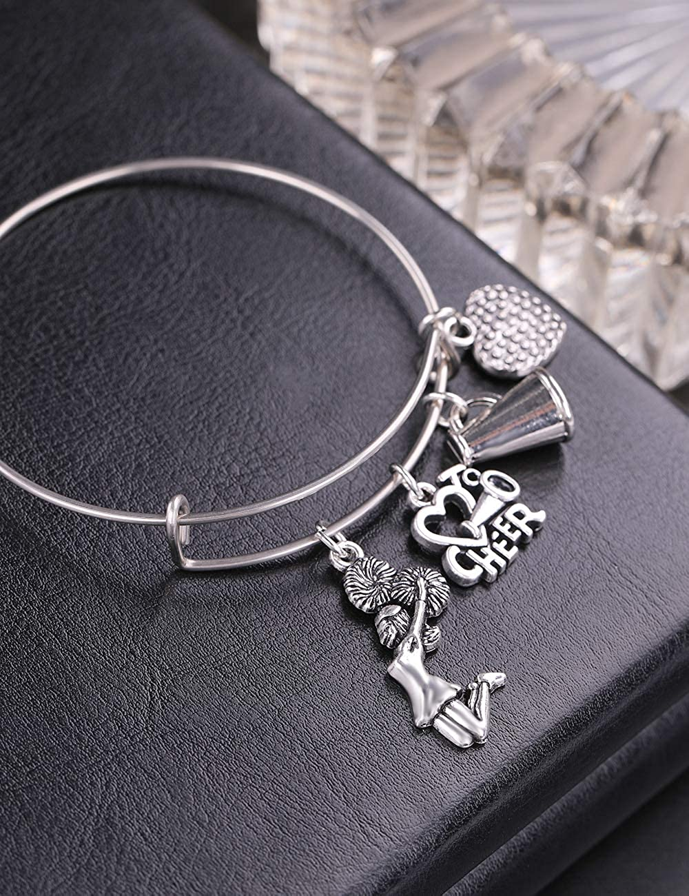 cooltime Cheerleading Heart Cheerleader Charms Bangle Bracelet for Cheer Team