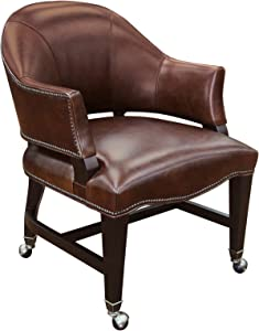 Hooker Furniture Joker Leather Game Chair in Brown and Natchez Brown