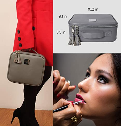 Amazon.com: Professional Travel Makeup Bag - Waterproof PU Leather Organizer and Beauty Storage - Elegant Make Up Case, Organizers or Box Best For Women ...