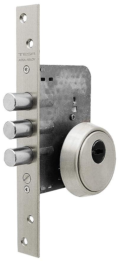 Tesa Assa Abloy R201B5SCN Cerradura Monopunto de Seguridad para Puertas de M, Acero Inoxidable,