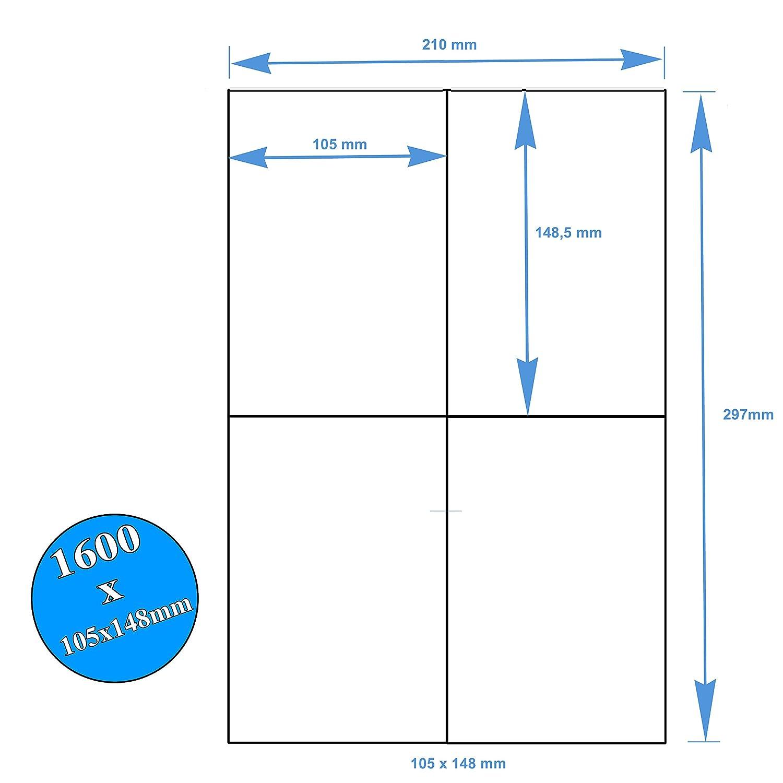 400 Etichette Bianche Adesive Stampabili 105x148 su foglio A4 per Stampanti Laser Inkjet Fotocopiatrici