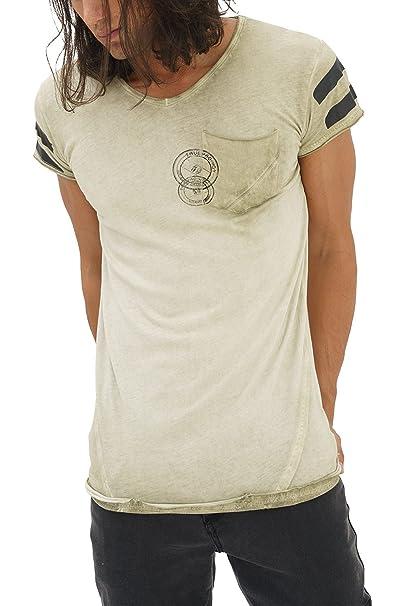 trueprodigy Casual Hombre Marca Camiseta Estampado Ropa Retro Vintage Rock Vestir Moda Cuello V Manga Corta