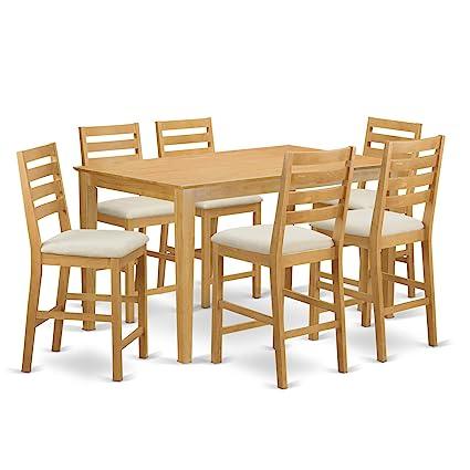 Amazon east west furniture cacf7h oak c 7 piece pub table and 6 east west furniture cacf7h oak c 7 piece pub table and 6 bar stools watchthetrailerfo