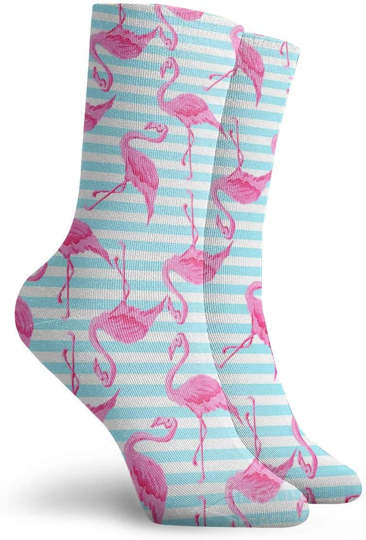 WEEDKEYCAT Pink Flamingo Aqua Stripes Adult Short Socks Cotton Funny Socks for Mens Womens Yoga Hiking Cycling Running Soccer Sports