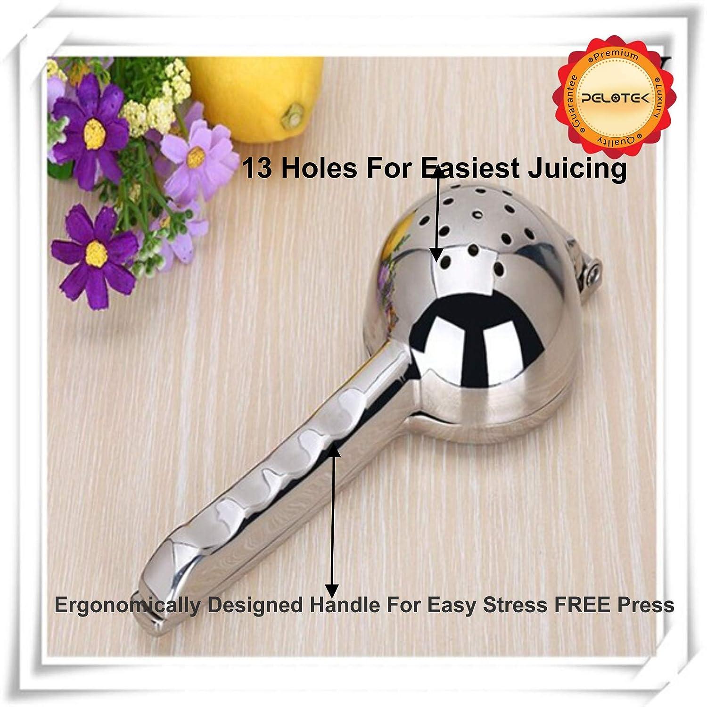 Amazon.com: Pelotek- Lemon Squeezer/Citrus Juicer/Lime Fruit Juice Presser ✮ Made With Quality 304 Stainless Steel + Extra Wide Bowl (3.45