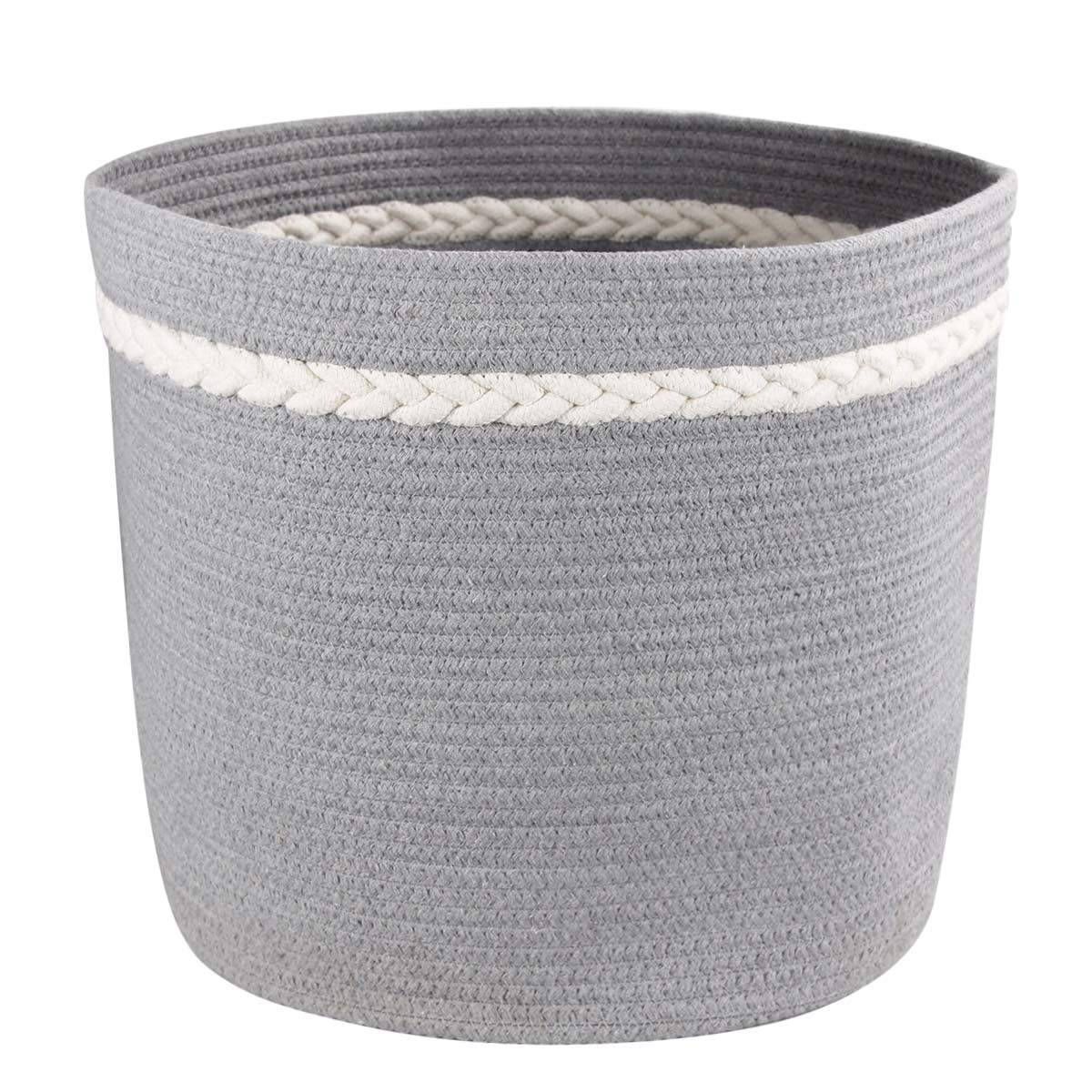 Large Storage Basket - Woven Cotton Basket for Kid's Toys - Cotton Rope Basket with Handles- Decorative Blanket Baskets for Living Room -17×14.5 inch