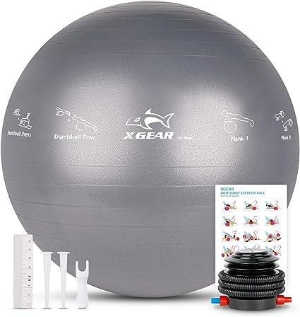 XGEAR Fitness Pelota Balón de Ejercicio Anti-explosión 55cm/65cm ...