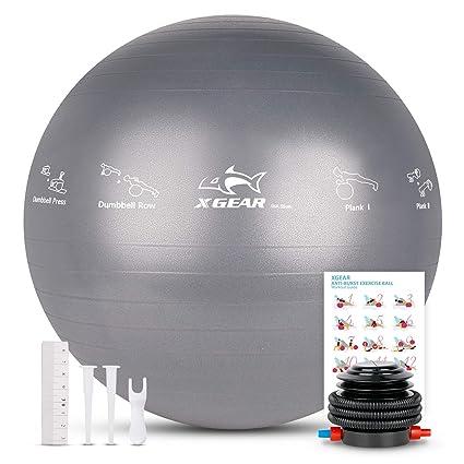XGEAR Fitness Pelota Balón de Ejercicio Anti-explosión 55cm ...
