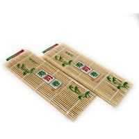 "THY COLLECTIBLES Sushi Making Rolling Mat Natural Bamboo 9.5""x9.5"" 2 PCS SET"
