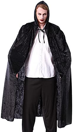 Adult Halloween Hooded Cloak Costumes Men Ghost Death Cape Cosplay Long Robe (Black)  sc 1 st  Amazon.com & Amazon.com: Adult Halloween Hooded Cloak Costumes Men Ghost Death ...