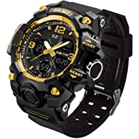 LYMFHCH Men's Analog Sports Watch, LED Military Digital Watch Electronic Stopwatch Large Dual Dial Time Outdoor Army…