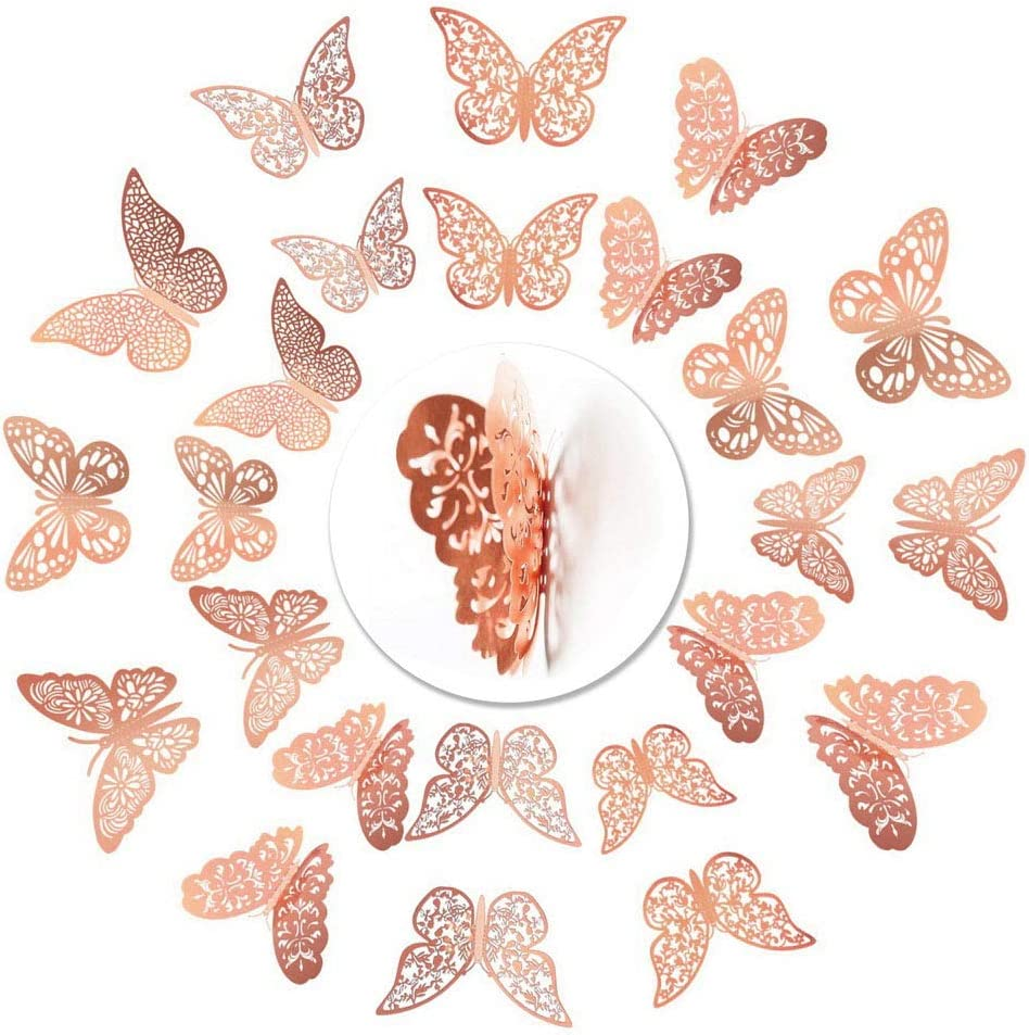 Nuoshen 36 Pcs Butterfly Wall Stickers Rose Gold 3d Butterfly Wall Stickers Diy Art Decor 3d Wall Decals For Home Bathroom Party Decoration Amazon Co Uk Diy Tools