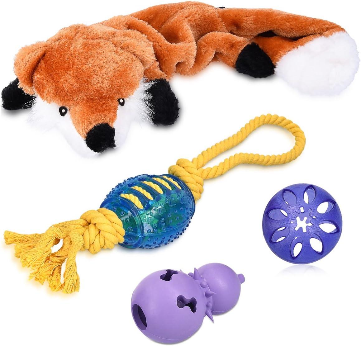 Navaris Set 4en1 de Juguetes para Perros - Pack con Zorro de compresión Snack Ball dispensador de croquetas y Cuerda de Rugby - Ideal para Cachorros