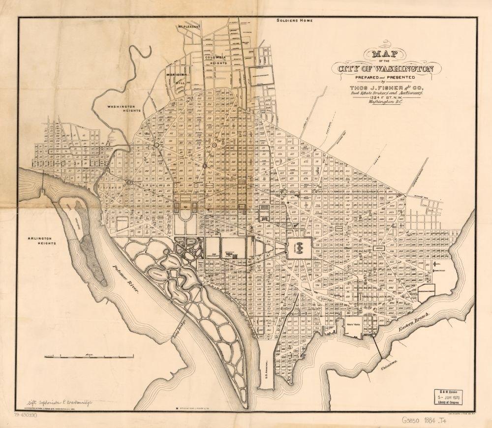 Amazon.com: Vintage 1884 Map of the city of Washington ...