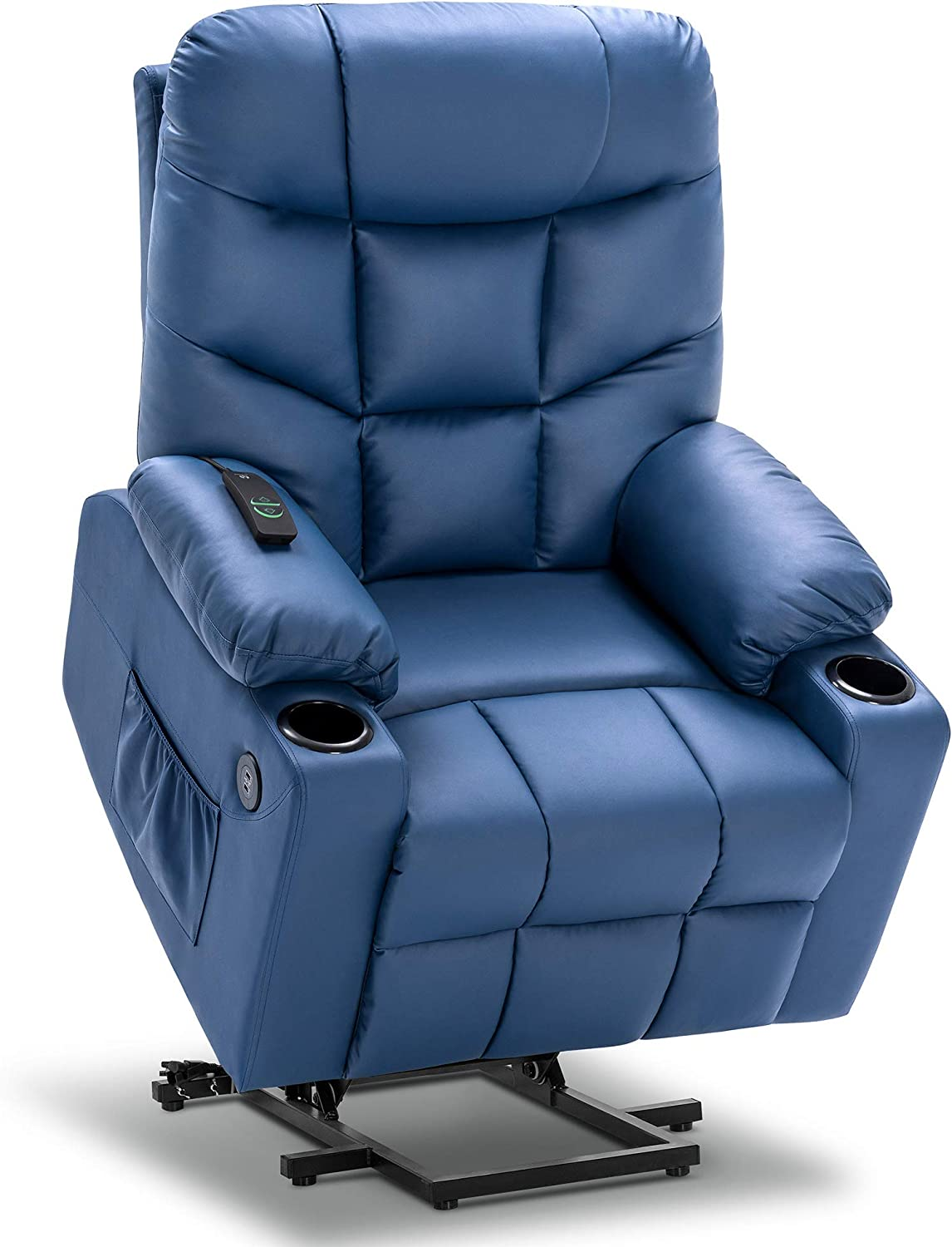 Mcombo Electric Power Lift Recliner Chair Sofa for Elderly, 3 Positions, 2 Side Pockets and Cup Holders, USB Ports, Faux Leather 7288 (Blue)