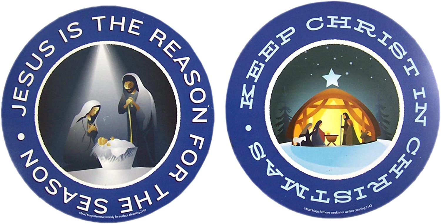 Keep Christ in Christmas Nativity and Jesus is the Reason for the Season Magnet Decorating Set for Cars, Offices, or Refrigerators, 5 3/4 Inch