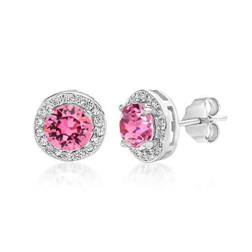 75b0e9a9edaad0 Devin Rose Round Halo Stud Gift Earrings for Women Made With Swarovski  Crystal in 925 Sterling
