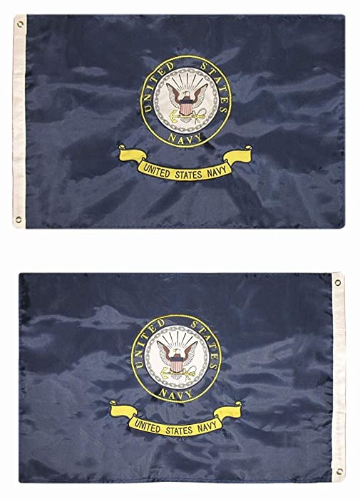 usep 2x3 Embroidered Double Sided U.S. Navy Emblem Seal Crest Solarmax Nylon Flag