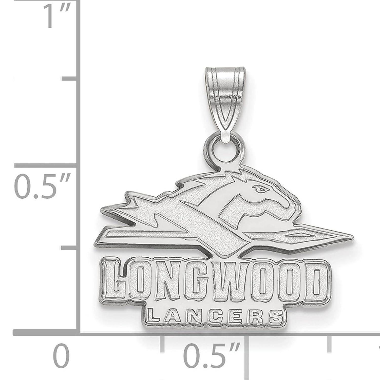 925 Sterling Silver Rhodium-plated Laser-cut Longwood University Small Pendant